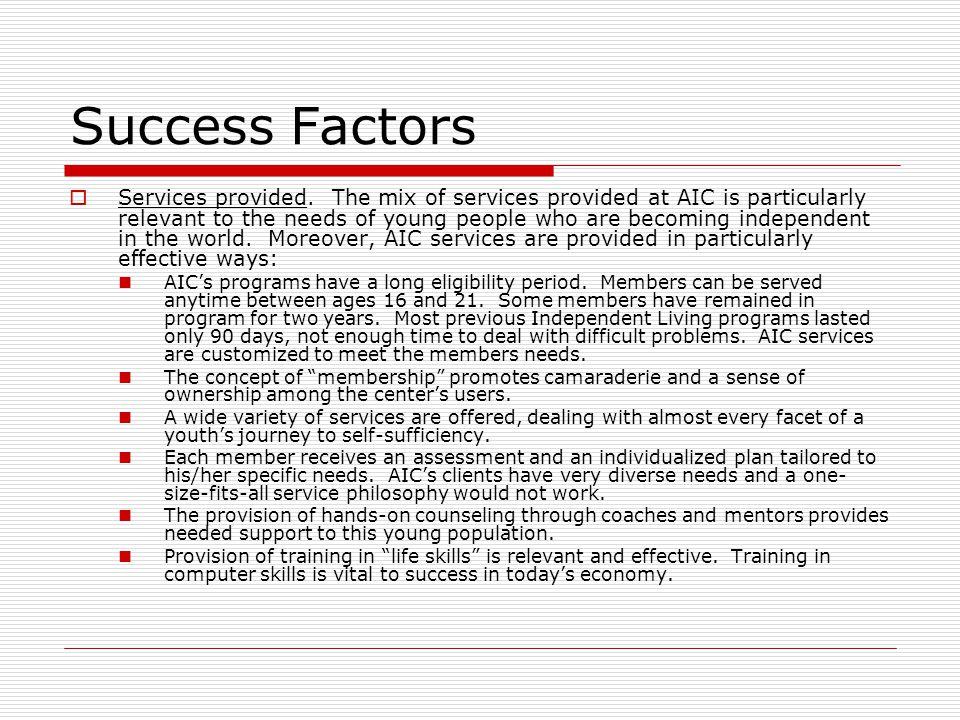 Success Factors Services provided.