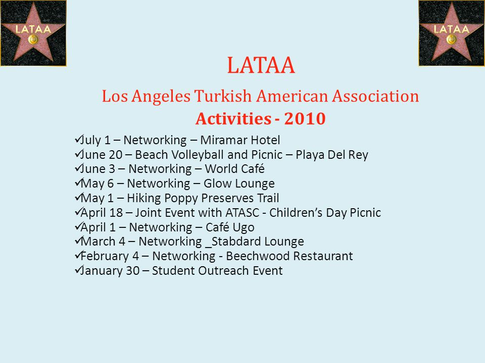 LATAA Los Angeles Turkish American Association Activities - 2010 July 1 – Networking – Miramar Hotel June 20 – Beach Volleyball and Picnic – Playa Del Rey June 3 – Networking – World Café May 6 – Networking – Glow Lounge May 1 – Hiking Poppy Preserves Trail April 18 – Joint Event with ATASC - Childrens Day Picnic April 1 – Networking – Café Ugo March 4 – Networking _Stabdard Lounge February 4 – Networking - Beechwood Restaurant January 30 – Student Outreach Event