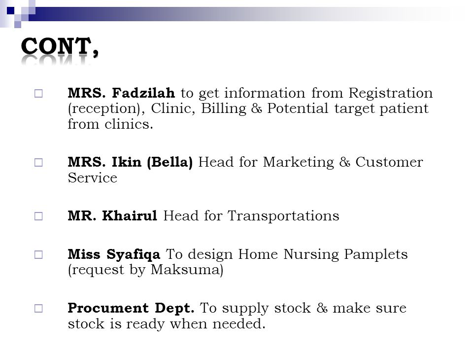 MRS. Fadzilah to get information from Registration (reception), Clinic, Billing & Potential target patient from clinics. MRS. Ikin (Bella) Head for Ma