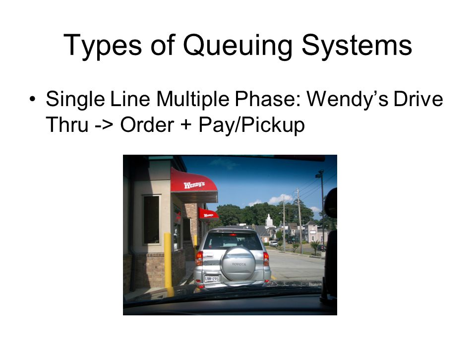 Types of Queuing Systems Single Line Multiple Phase: Wendys Drive Thru -> Order + Pay/Pickup