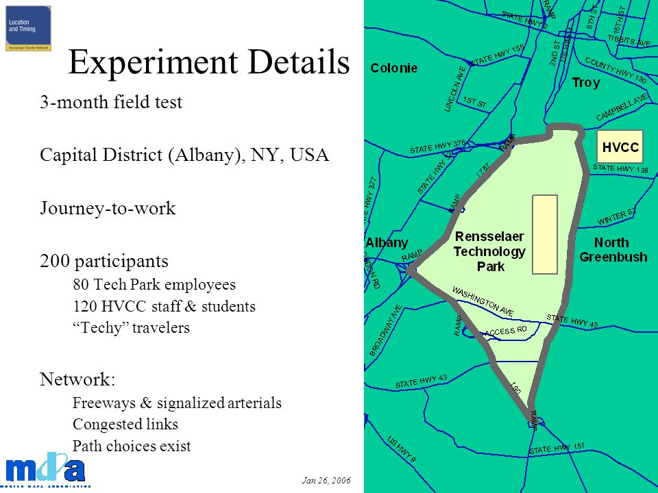 Jan 26, 2006 3-month field test Capital District (Albany), NY, USA Journey-to-work 200 participants 80 Tech Park employees 120 HVCC staff & students Techy travelers Network: Freeways & signalized arterials Congested links Path choices exist Experiment Details