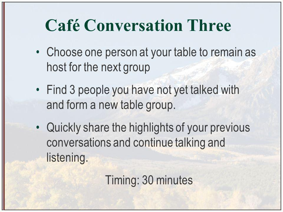 Café Conversation Three Choose one person at your table to remain as host for the next group Find 3 people you have not yet talked with and form a new table group.
