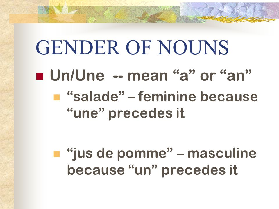 GENDER OF NOUNS Un/Une -- mean a or an salade – feminine because une precedes it jus de pomme – masculine because un precedes it