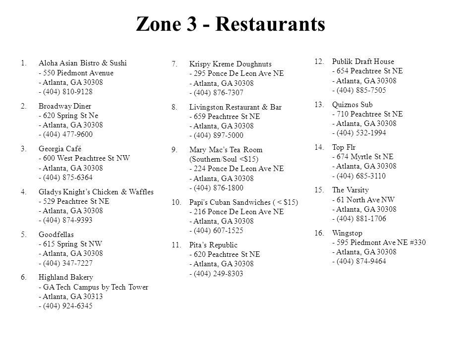 Zone 3 - Restaurants 1.Aloha Asian Bistro & Sushi - 550 Piedmont Avenue - Atlanta, GA 30308 - (404) 810-9128 2.Broadway Diner - 620 Spring St Ne - Atl