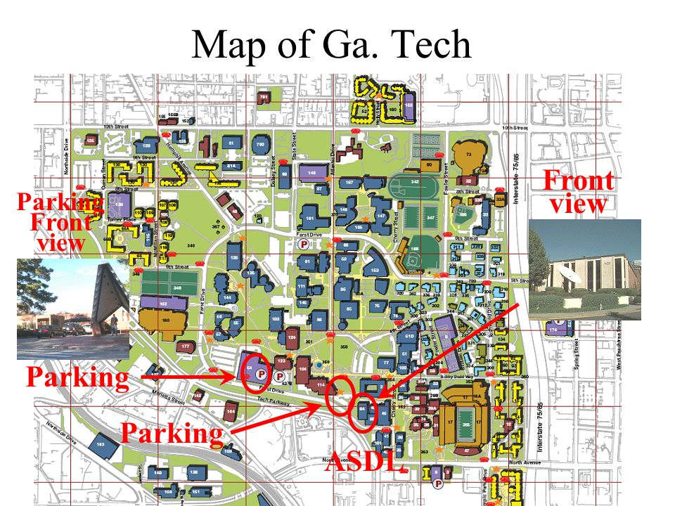 Map of Ga. Tech ASDL Front view Parking Parking Front view Parking