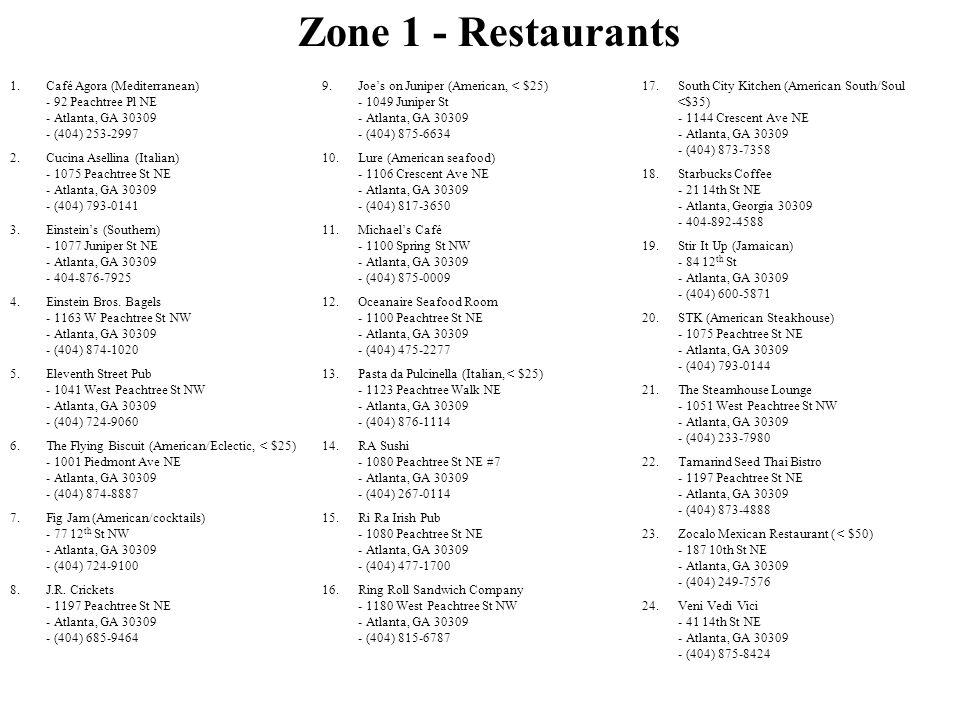 1.Café Agora (Mediterranean) - 92 Peachtree Pl NE - Atlanta, GA 30309 - (404) 253-2997 2.Cucina Asellina (Italian) - 1075 Peachtree St NE - Atlanta, G