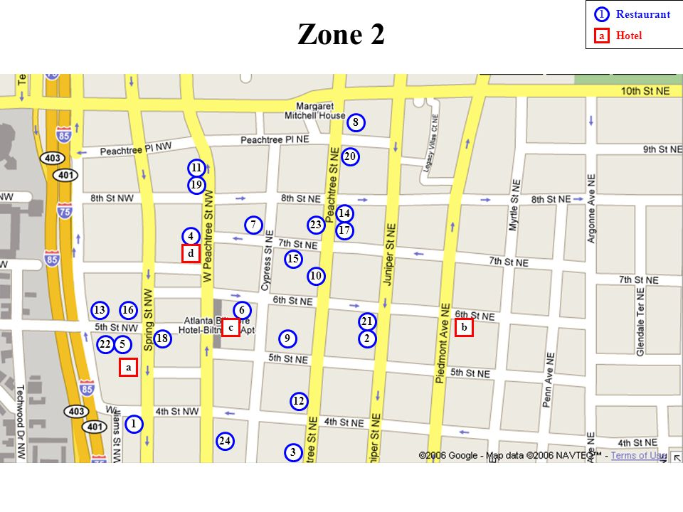 Zone 2 - Restaurants 1.Apache Café (Jazz, Soul food) - 64 3 rd St NW - Atlanta, GA 30308 - (404) 876-5436 2.Babs (Daytime café) - 814 Juniper St NE #3 - Atlanta, GA 30308 - (404) 541-0888 3.Baraonda (Italian Pizza <$25) - 710 Peachtree St.