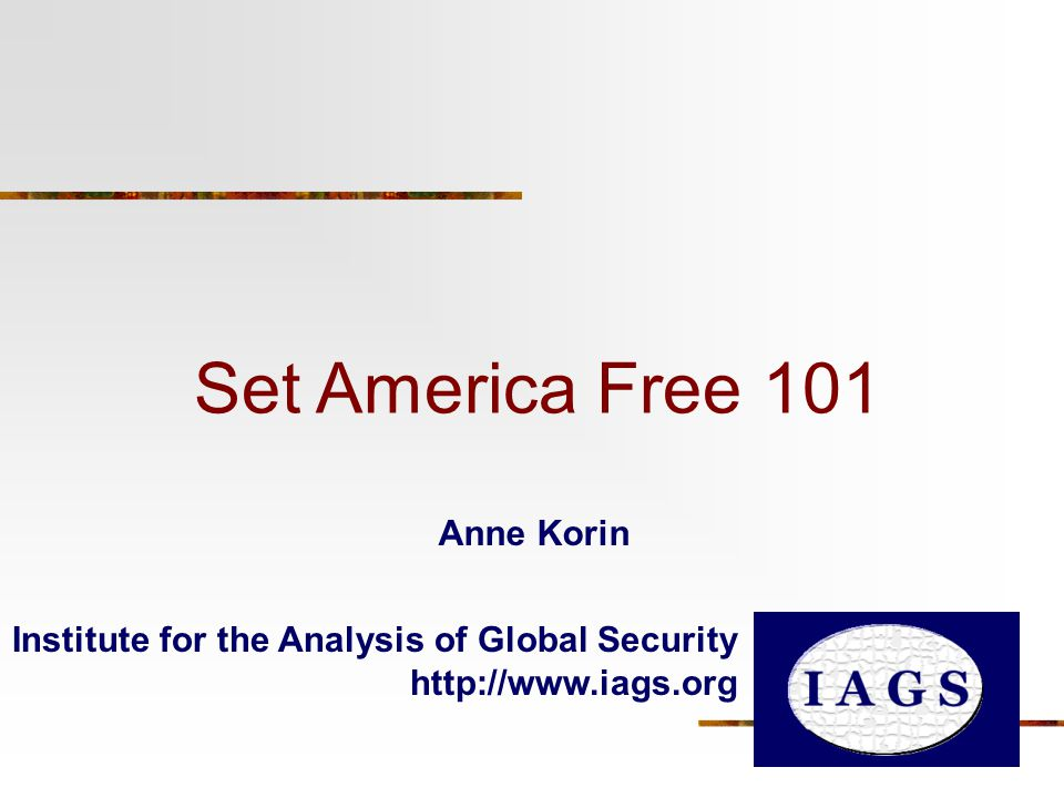 Set America Free 101 Institute for the Analysis of Global Security   Anne Korin