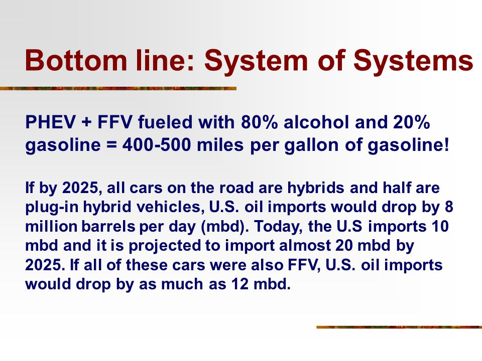 PHEV + FFV fueled with 80% alcohol and 20% gasoline = 400-500 miles per gallon of gasoline! If by 2025, all cars on the road are hybrids and half are
