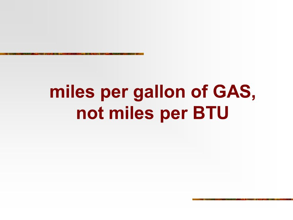 miles per gallon of GAS, not miles per BTU