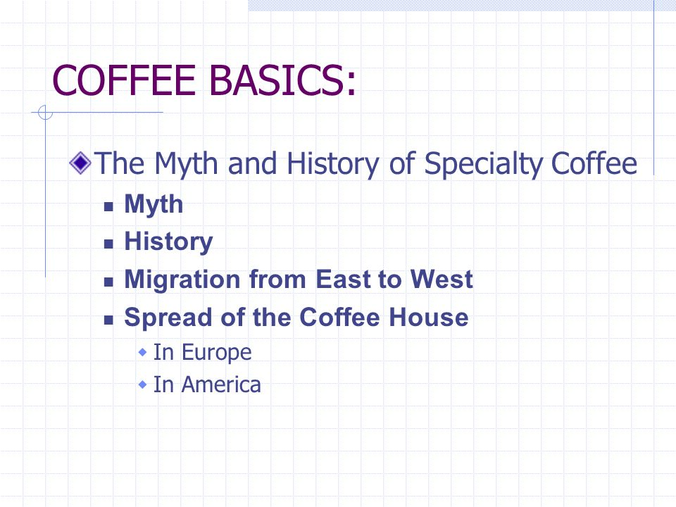 COFFEE BASICS: The Myth and History of Specialty Coffee Myth History Migration from East to West Spread of the Coffee House In Europe In America