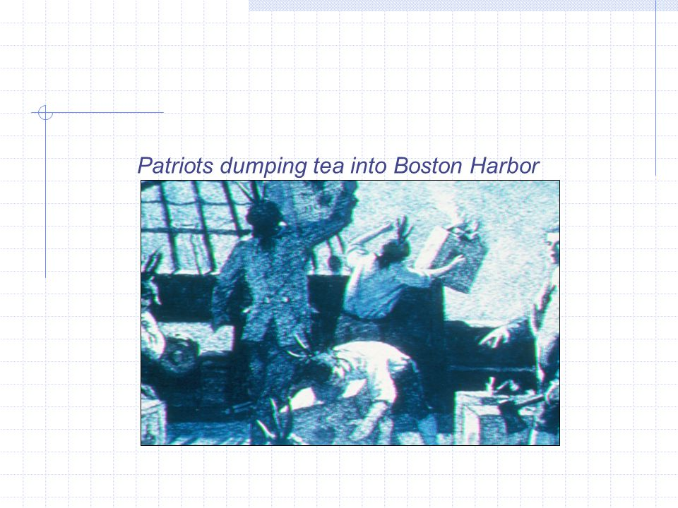 Patriots dumping tea into Boston Harbor