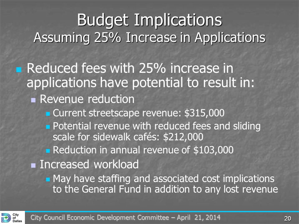 20 City Council Economic Development Committee – April 21, 2014 Budget Implications Assuming 25% Increase in Applications Reduced fees with 25% increase in applications have potential to result in: Revenue reduction Current streetscape revenue: $315,000 Potential revenue with reduced fees and sliding scale for sidewalk cafés: $212,000 Reduction in annual revenue of $103,000 Increased workload May have staffing and associated cost implications to the General Fund in addition to any lost revenue