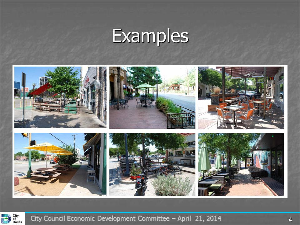 4 City Council Economic Development Committee – April 21, 2014 Examples