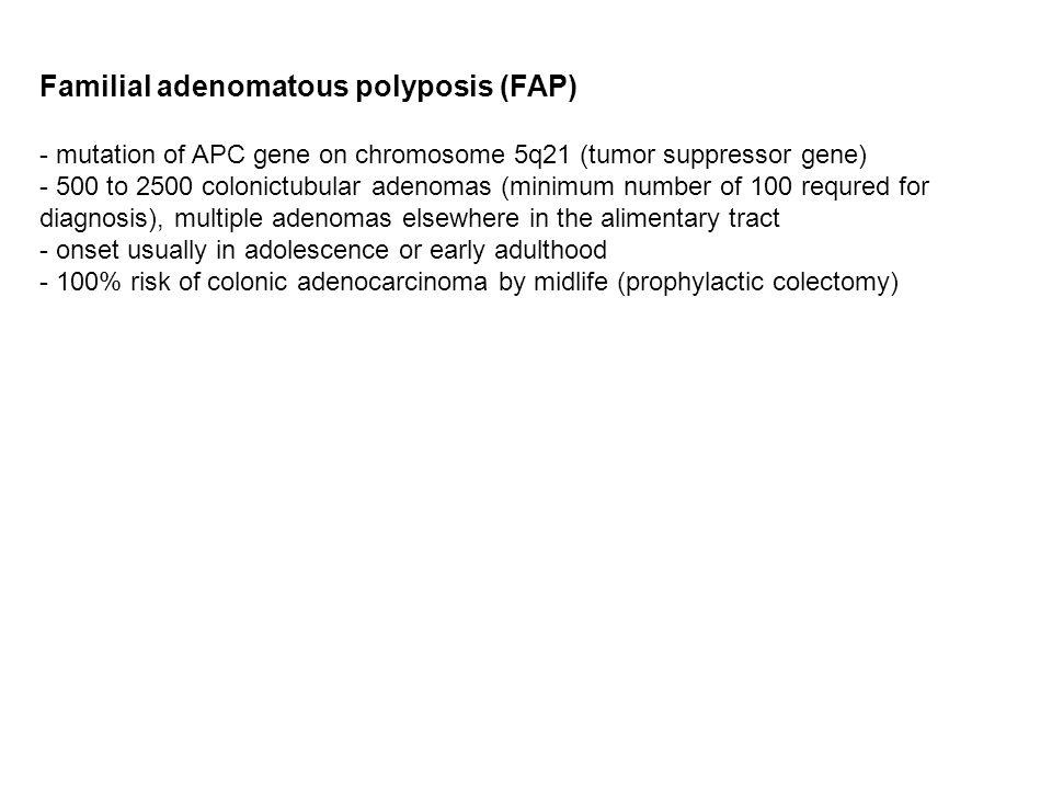 Familial adenomatous polyposis (FAP) - mutation of APC gene on chromosome 5q21 (tumor suppressor gene) - 500 to 2500 colonictubular adenomas (minimum
