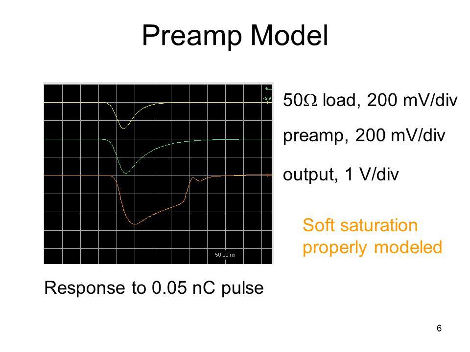 6 Preamp Model Response to 0.05 nC pulse 50 load, 200 mV/div preamp, 200 mV/div output, 1 V/div Soft saturation properly modeled