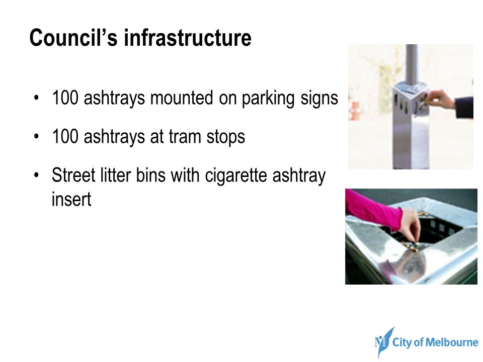 Councils infrastructure 100 ashtrays mounted on parking signs 100 ashtrays at tram stops Street litter bins with cigarette ashtray insert