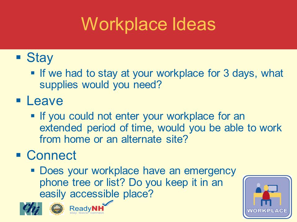 Stay If we had to stay at your workplace for 3 days, what supplies would you need.