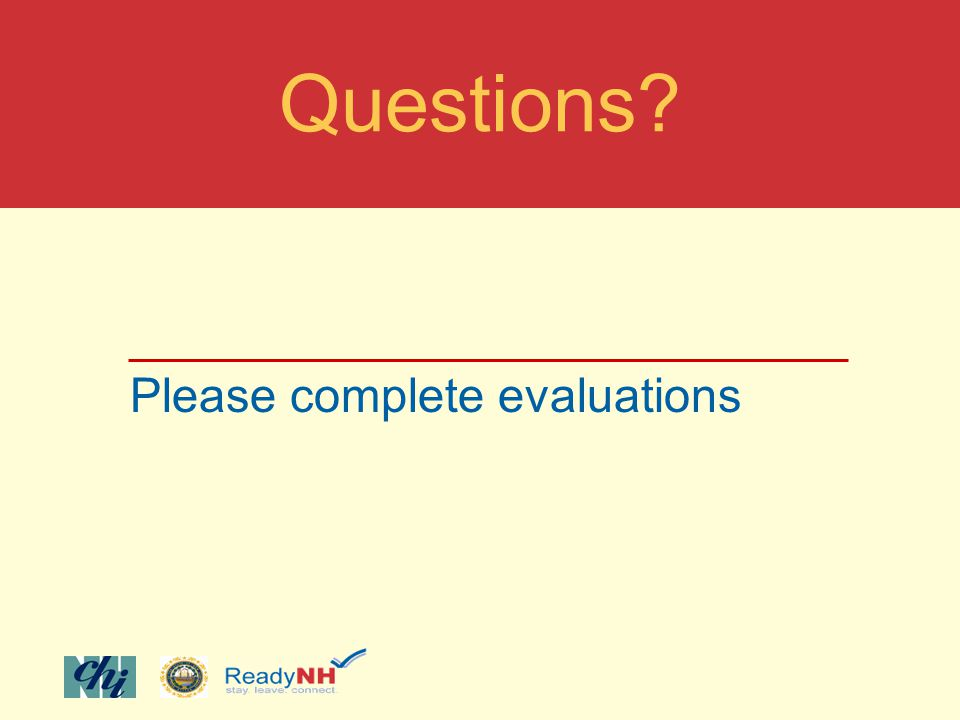 Please complete evaluations Questions