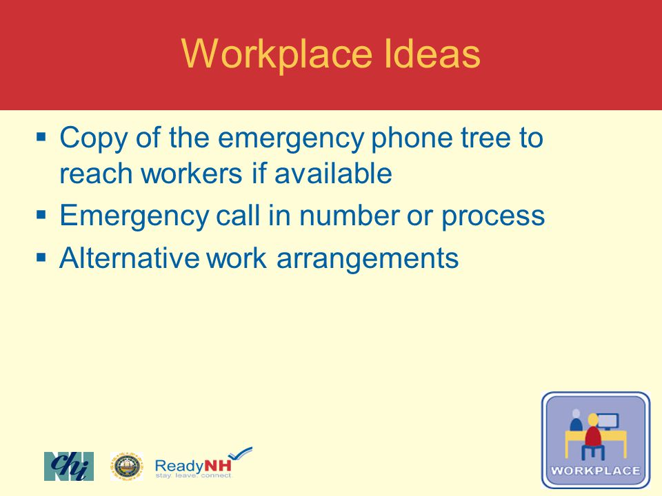 Copy of the emergency phone tree to reach workers if available Emergency call in number or process Alternative work arrangements Workplace Ideas
