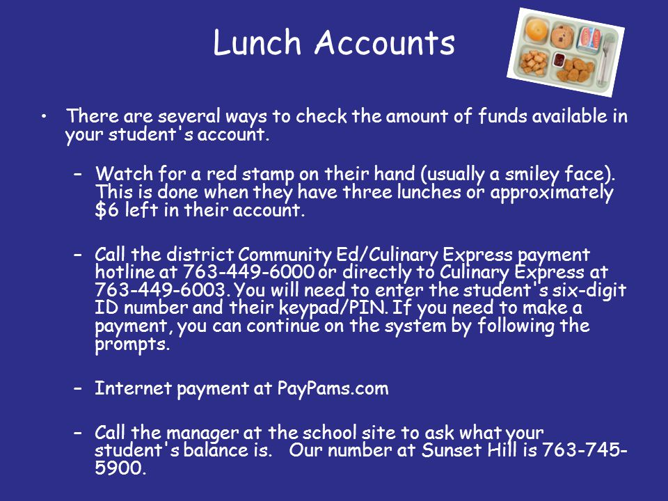 Lunch Accounts There are several ways to check the amount of funds available in your student's account. –Watch for a red stamp on their hand (usually