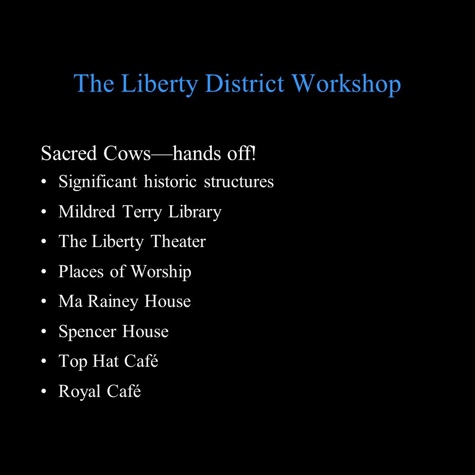 The Liberty District Workshop Sacred Cowshands off.