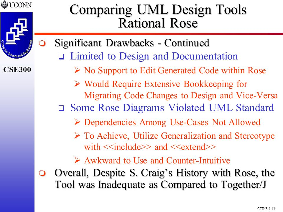 CSE300 CTINS-1.13 Comparing UML Design Tools Rational Rose Significant Drawbacks - Continued Significant Drawbacks - Continued Limited to Design and Documentation No Support to Edit Generated Code within Rose Would Require Extensive Bookkeeping for Migrating Code Changes to Design and Vice-Versa Some Rose Diagrams Violated UML Standard Dependencies Among Use-Cases Not Allowed To Achieve, Utilize Generalization and Stereotype with > and > Awkward to Use and Counter-Intuitive Overall, Despite S.