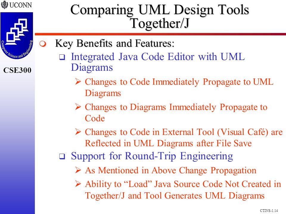 CSE300 CTINS-1.14 Comparing UML Design Tools Together/J Key Benefits and Features: Key Benefits and Features: Integrated Java Code Editor with UML Dia