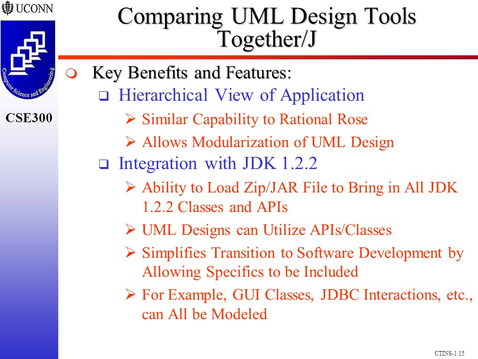 CSE300 CTINS-1.15 Comparing UML Design Tools Together/J Key Benefits and Features: Key Benefits and Features: Hierarchical View of Application Similar