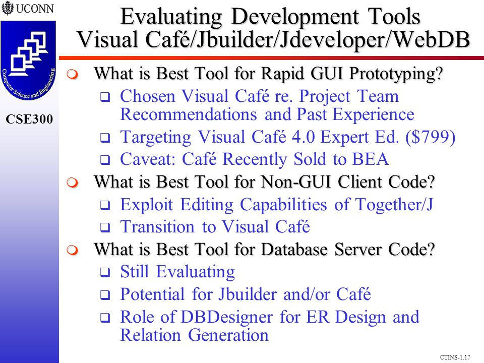 CSE300 CTINS-1.17 Evaluating Development Tools Visual Café/Jbuilder/Jdeveloper/WebDB What is Best Tool for Rapid GUI Prototyping? What is Best Tool fo