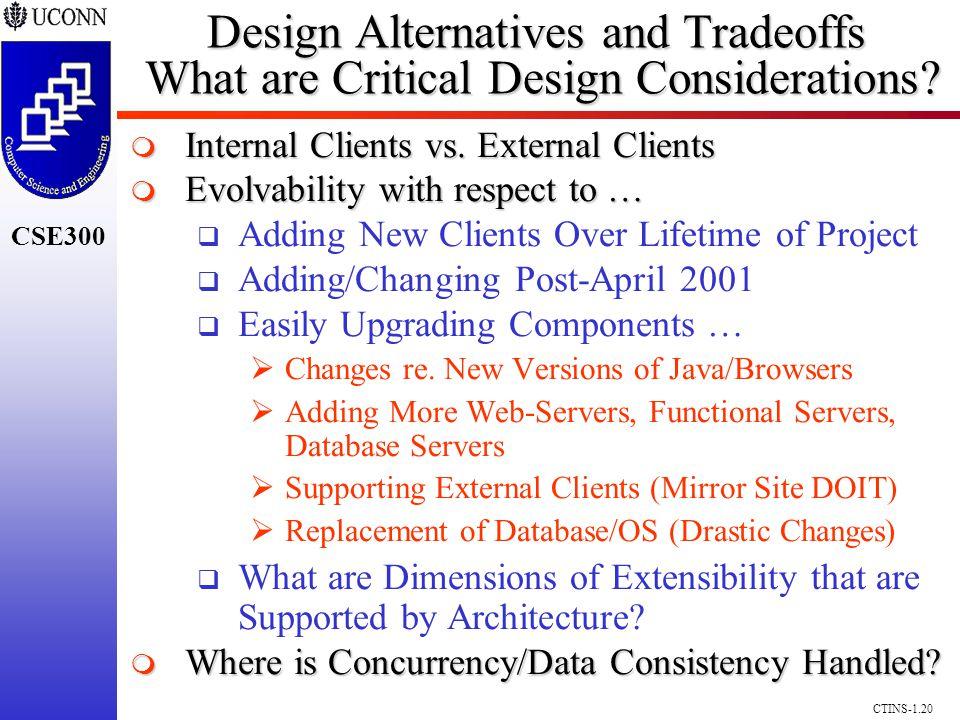CSE300 CTINS-1.20 Design Alternatives and Tradeoffs What are Critical Design Considerations? Internal Clients vs. External Clients Internal Clients vs