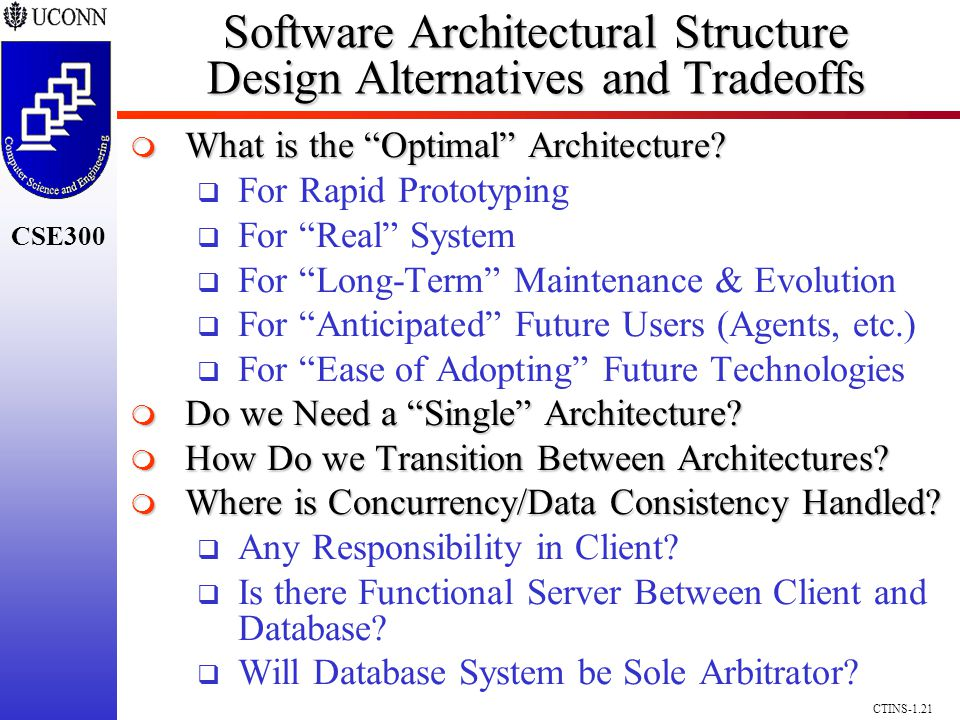 CSE300 CTINS-1.21 Software Architectural Structure Design Alternatives and Tradeoffs What is the Optimal Architecture? What is the Optimal Architectur