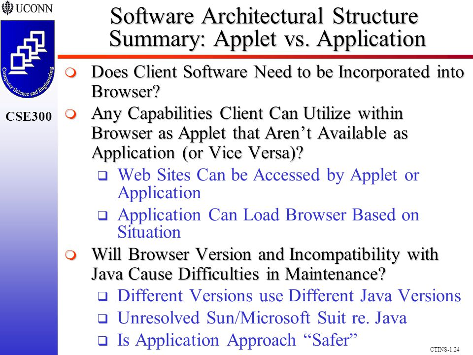 CSE300 CTINS-1.24 Software Architectural Structure Summary: Applet vs.