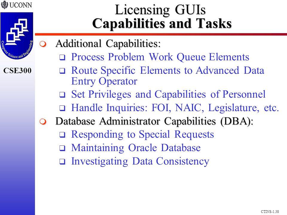 CSE300 CTINS-1.38 Licensing GUIs Capabilities and Tasks Additional Capabilities: Additional Capabilities: Process Problem Work Queue Elements Route Sp
