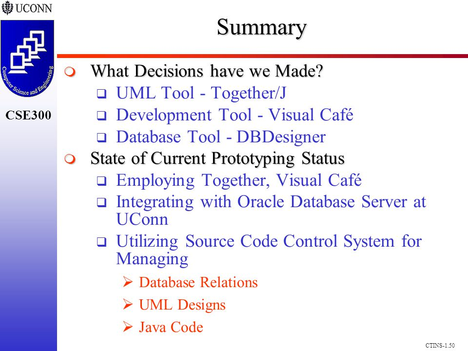 CSE300 CTINS-1.50Summary What Decisions have we Made.