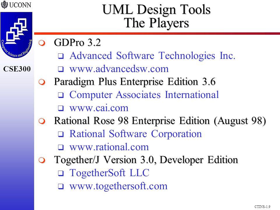 CSE300 CTINS-1.9 UML Design Tools The Players GDPro 3.2 GDPro 3.2 Advanced Software Technologies Inc. www.advancedsw.com Paradigm Plus Enterprise Edit