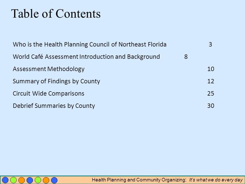 Health Planning and Community Organizing : Its what we do every day Table of Contents Who is the Health Planning Council of Northeast Florida3 World Café Assessment Introduction and Background8 Assessment Methodology 10 Summary of Findings by County 12 Circuit Wide Comparisons 25 Debrief Summaries by County 30