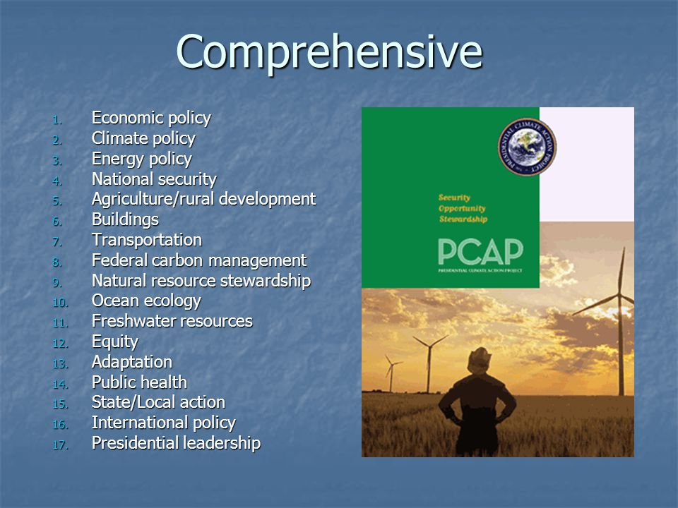Comprehensive 1. Economic policy 2. Climate policy 3. Energy policy 4. National security 5. Agriculture/rural development 6. Buildings 7. Transportati