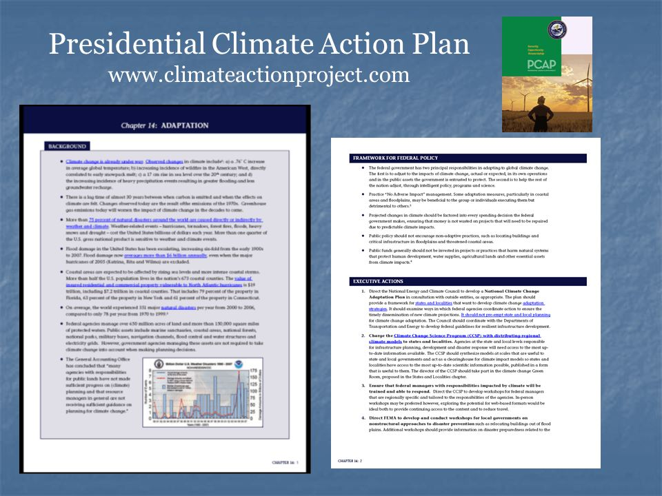 Presidential Climate Action Plan www.climateactionproject.com