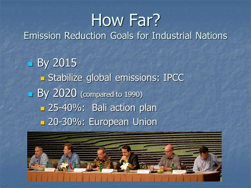 How Far? Emission Reduction Goals for Industrial Nations By 2015 By 2015 Stabilize global emissions: IPCC Stabilize global emissions: IPCC By 2020 (co