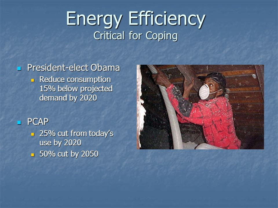 Energy Efficiency Critical for Coping President-elect Obama President-elect Obama Reduce consumption 15% below projected demand by 2020 Reduce consump