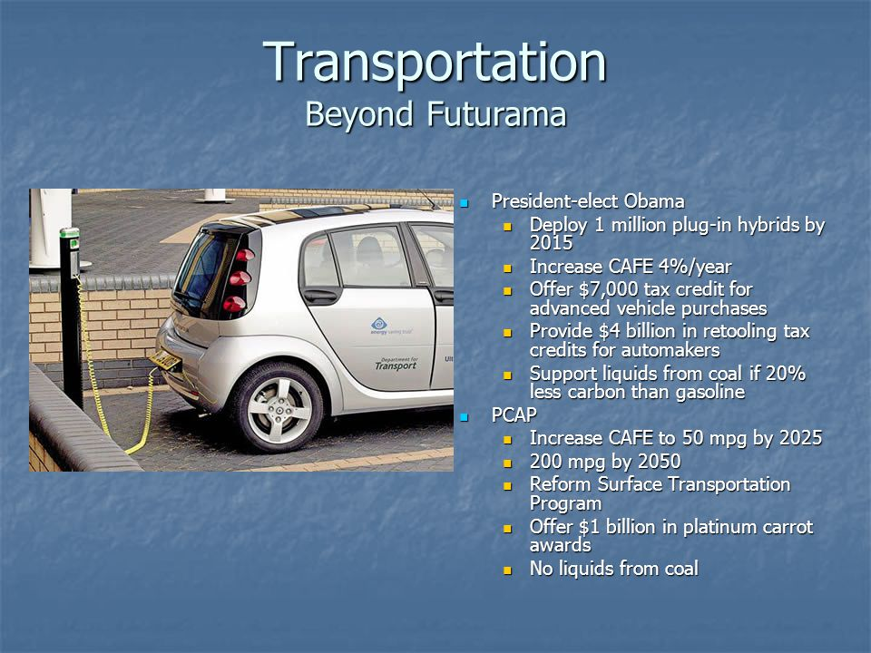 Transportation Beyond Futurama President-elect Obama President-elect Obama Deploy 1 million plug-in hybrids by 2015 Increase CAFE 4%/year Offer $7,000