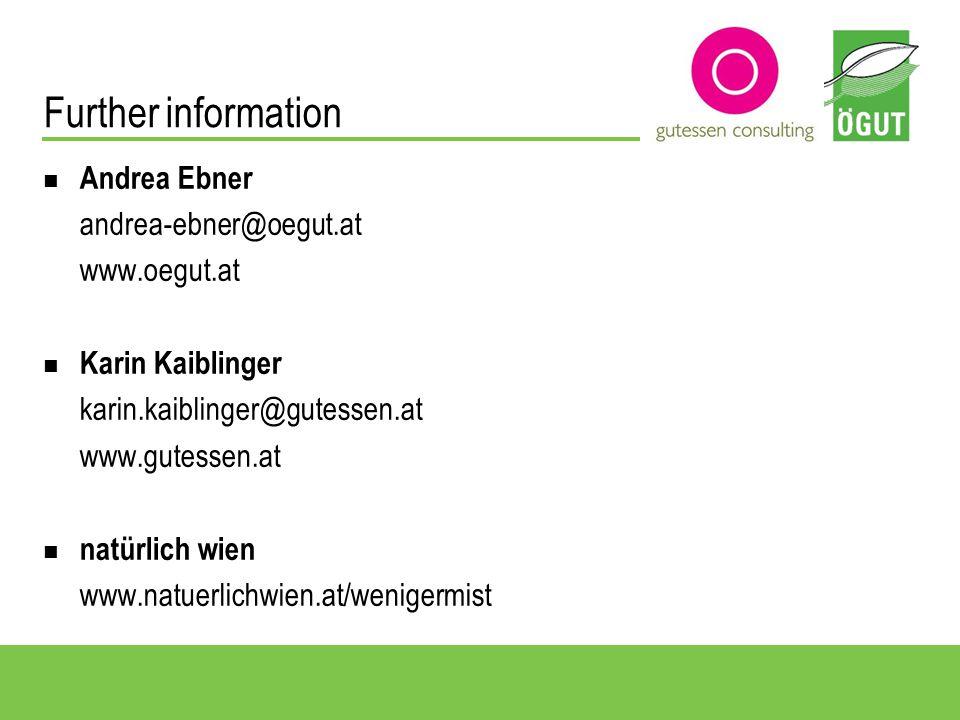 Andrea Ebner andrea-ebner@oegut.at www.oegut.at Karin Kaiblinger karin.kaiblinger@gutessen.at www.gutessen.at natürlich wien www.natuerlichwien.at/wenigermist Further information