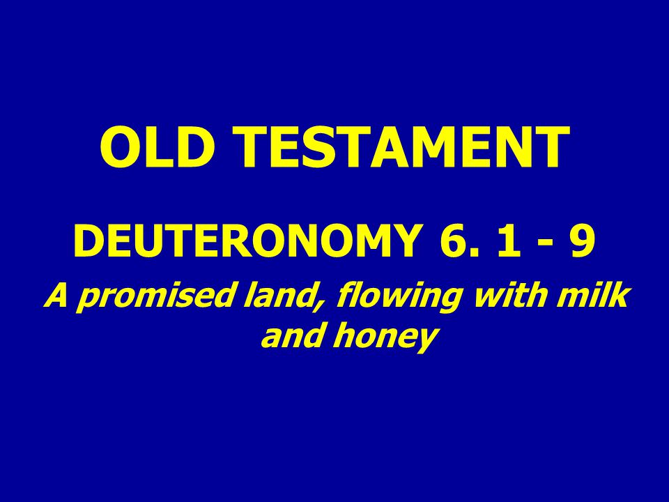 OLD TESTAMENT DEUTERONOMY 6. 1 - 9 A promised land, flowing with milk and honey