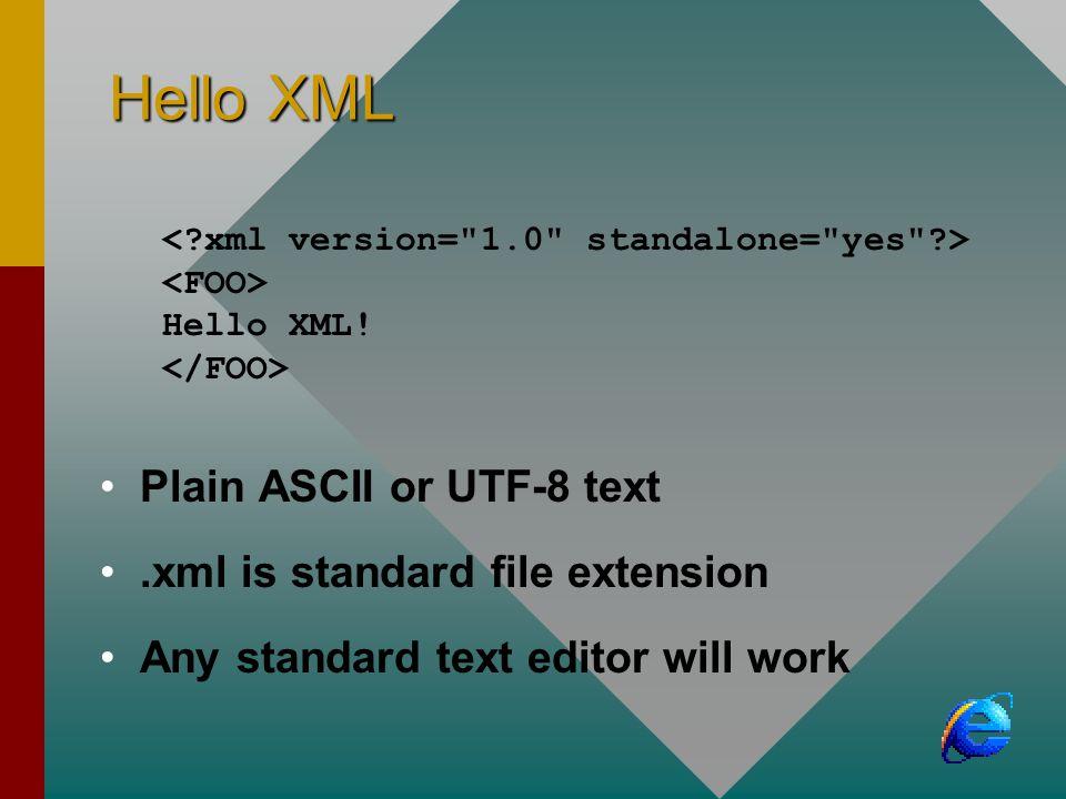 Hello XML Hello XML! Plain ASCII or UTF-8 text.xml is standard file extension Any standard text editor will work