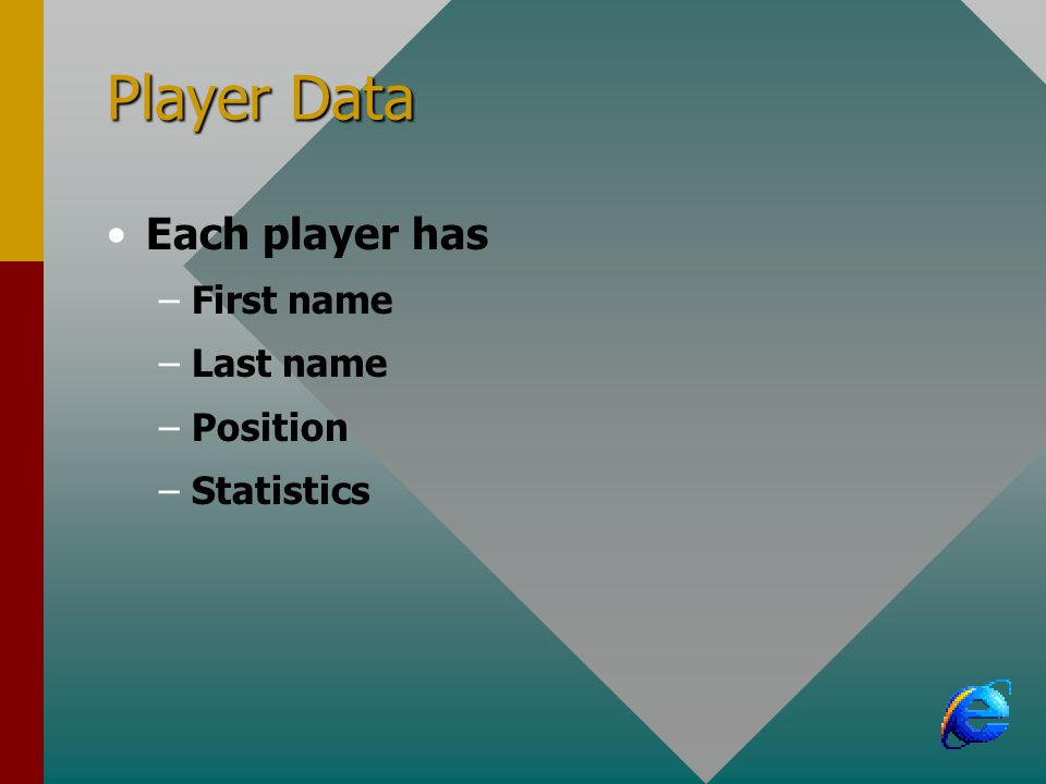 Player Data Each player has –First name –Last name –Position –Statistics