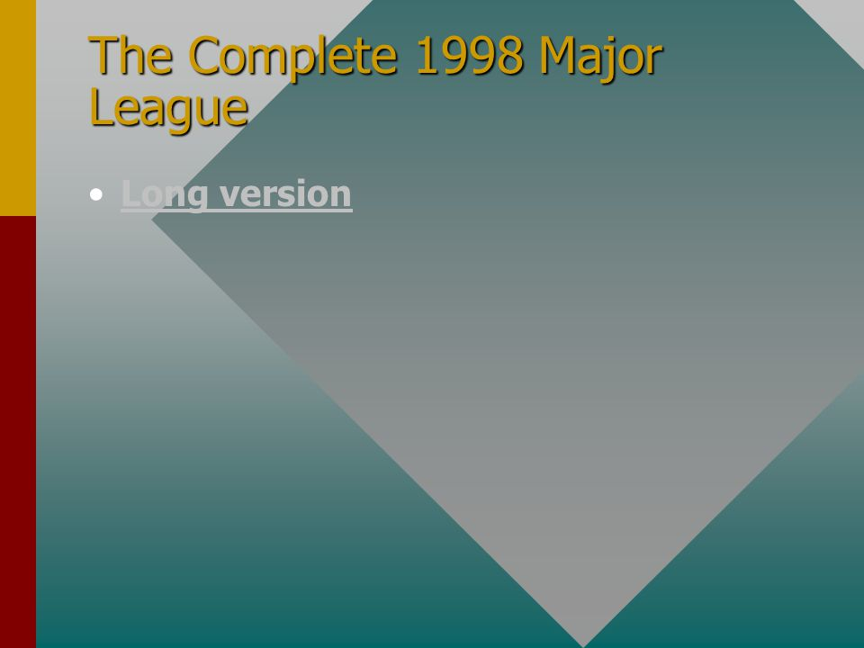 The Complete 1998 Major League Long version