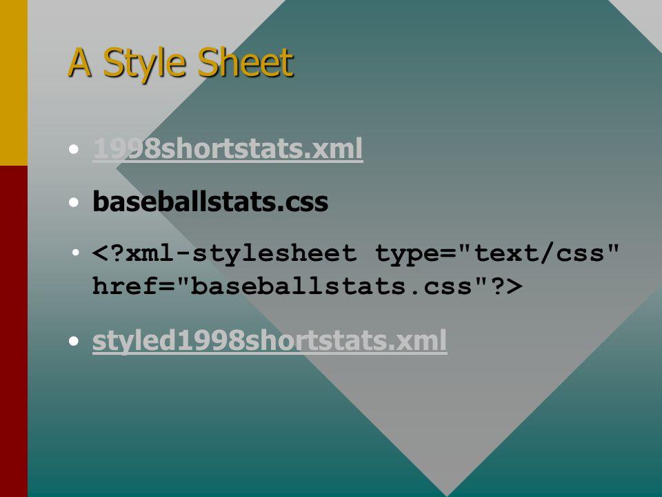 A Style Sheet 1998shortstats.xml baseballstats.css styled1998shortstats.xmlstyled1998shortstats.xml