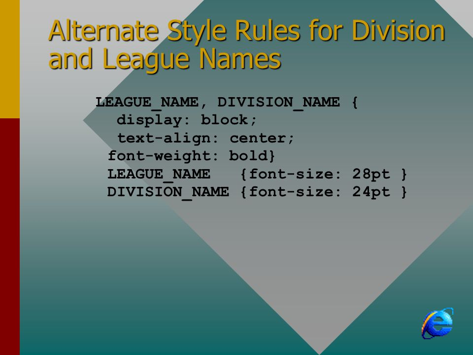 Alternate Style Rules for Division and League Names LEAGUE_NAME, DIVISION_NAME { display: block; text-align: center; font-weight: bold} LEAGUE_NAME {font-size: 28pt } DIVISION_NAME {font-size: 24pt }