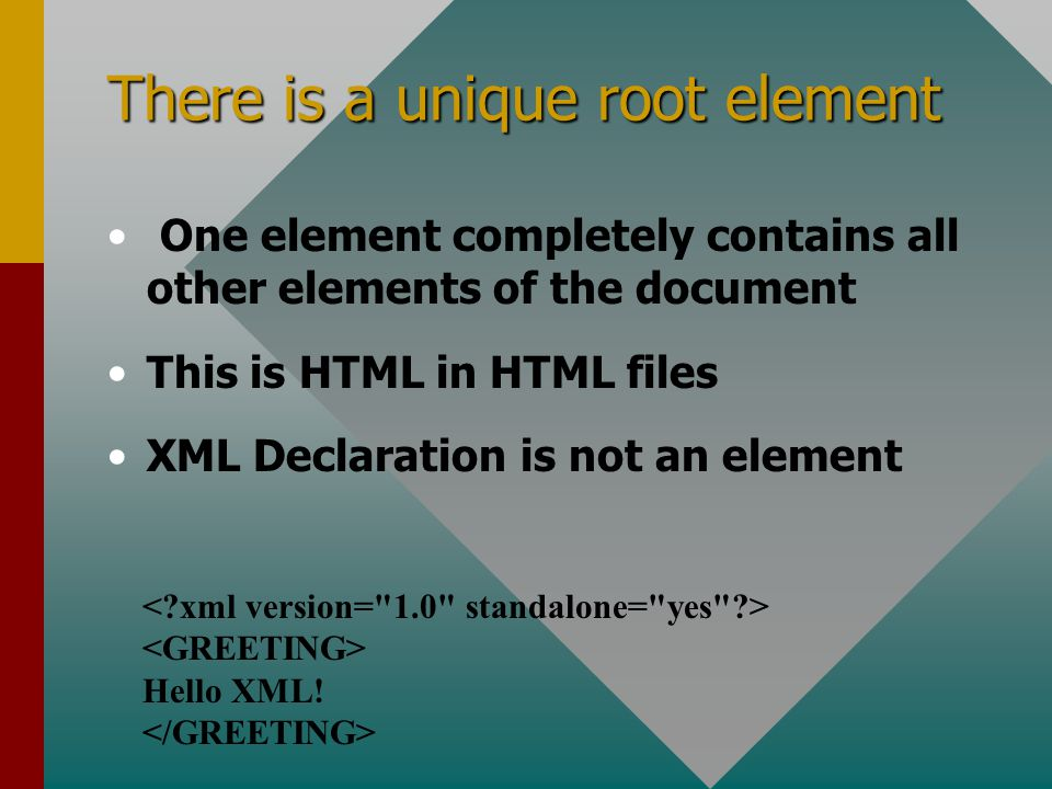 There is a unique root element One element completely contains all other elements of the document This is HTML in HTML files XML Declaration is not an element Hello XML!